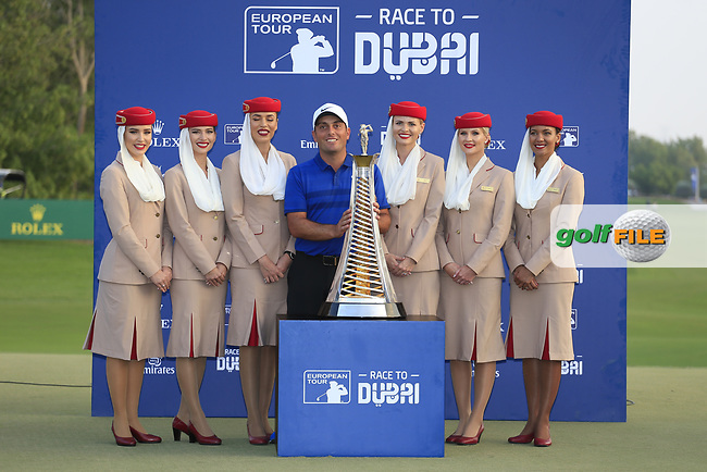 Francesco Molinari (ITA) winner of the Race to Dubai at the season ending DP World Tour Championship, Jumeirah Golf Estates, Dubai, United Arab Emirates. 18/11/2018<br /> Picture: Golffile | Fran Caffrey<br /> <br /> <br /> All photo usage must carry mandatory copyright credit (&copy; Golffile | Fran Caffrey)