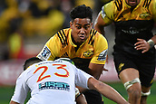 9th June 2017, Westpac Stadium, Wellington, New Zealand; Super Rugby; Hurricanes versus Chiefs;  Hurricanes' Julian Savea (L) is tackled by Chiefs' Shaun Stevenson