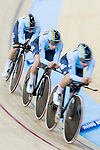 The team of Belgium with Lotte Kopecky, Gilke Croket, Annelies Dom and Kaat Van Der Meulen compete in the Women's Team Pursuit - Qualifying as part of the 2017 UCI Track Cycling World Championships on 12 April 2017, in Hong Kong Velodrome, Hong Kong, China. Photo by Chris Wong / Power Sport Images