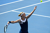 9th January 2018, Sydney Olympic Park Tennis Centre, Sydney, Australia; Sydney International Tennis, round 1; Dominika Cibulkova (SVK) serves in her match against Elena Vesnina (RUS)
