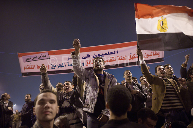 """© Remi OCHLIK/IP3 -  Cairo on february 01 - Cairo -- Organisers called it Egypt's """"million man march"""". Whether they achieved that targeted head count is unclear, but their message was unequivocal...""""Mubarak get out!"""" protesters chanted...Tuesday's rally in downtown Cairo was the largest anti-government demonstration in modern Egyptian history, drawing the full spectrum of Egyptian society. Wave after wave of men, women and children poured into the central square from morning until well after the government's 3pm curfew...It was the eighth consecutive day of protests calling for Egyptian President Hosni Mubarak to step down. Earlier this week the 83-year-old dictator, who has ruled Egypt for 30 years, appointed a vice-president and changed his cabinet to appease the public's growing anger. Protesters say he has missed the point entirely."""