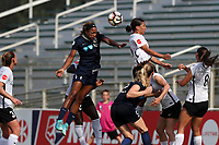 Cary, North Carolina  - Saturday July 01, 2017: Jessica McDonald heads a shot past Samantha Kerr during a regular season National Women's Soccer League (NWSL) match between the North Carolina Courage and the Sky Blue FC at Sahlen's Stadium at WakeMed Soccer Park. Sky Blue FC won the game 1-0.