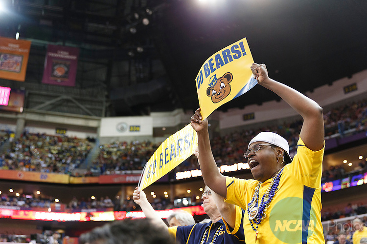 07 Apr 2013:    University of California fans cheer on the Golden Bears Women's Basketball team during the first semifinal of the 2013 Division I Women's Final Four in New Orleans, LA.  California fell to the University of Louisville by a score of 64-57.  ©Trevor Brown, Jr./NCAA Photos