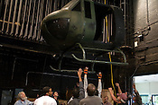 March 16, 2009. Raleigh, NC.. Stagehands at Carolina Theater at Memorial Auditorium load in the helicopter to be used in the performances of Ms. Saigon that will run March 21-29.
