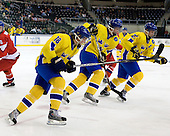 Filip Gunnarsson (Sweden - 18), Jonathan Johansson (Sweden - 21), Mattias Lindström (Sweden - 27) - Sweden defeated the Czech Republic 4-2 at the Urban Plains Center in Fargo, North Dakota, on Saturday, April 18, 2009, in their final match of the 2009 World Under 18 Championship.