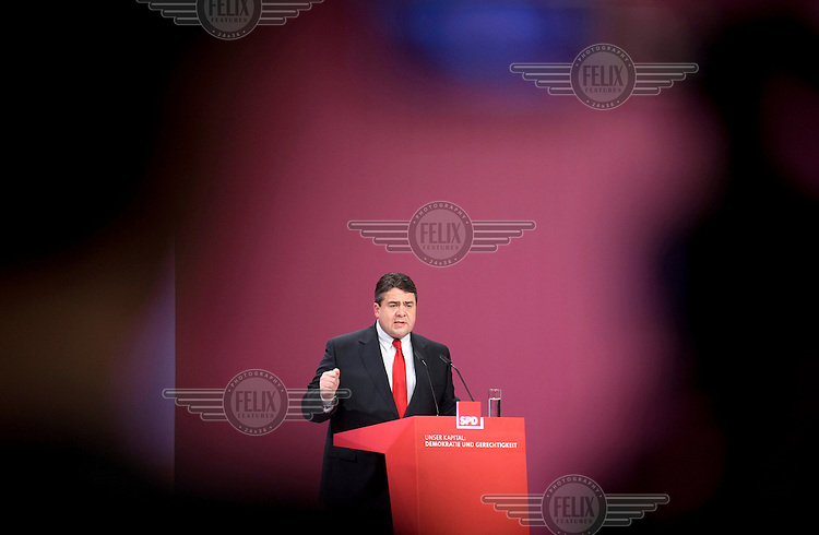 Sigmar Gabriel, leader of the German Social Democratic Party (SPD) at the party's congress in Berlin. .