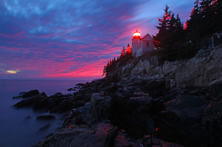 Sunset at the famous Bass Harbor lighthouse in Acadia National Park in Maine.