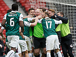 Hibs keeper Conrad Logan takes the acclaim after winning the penalty shoot out and putting Hibs in the final