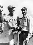Chicago Cubs Ernie Banks and Photojournalist Ron Bennett, Ernie Banks Major League baseball player who played his career with Chicago Cubs and was elected to the Baseball Hall of Fame in 1977,