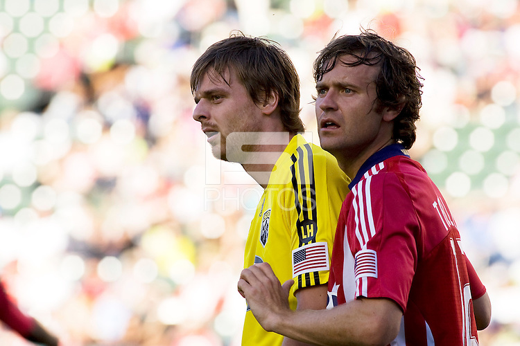 Chivas USA's Carey Talley (right) marks Columbus Crews Eddie Gaven (left). Chivas USA defeated the Columbus Crew 2-1at Home Depot Center stadium in Carson, California on Sunday April 5, 2009.  .Photo by Michael Janosz/ isiphotos.com