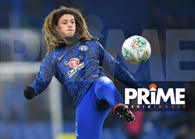 Ethan Ampadu of Chelsea warms up during the Carabao Cup Semi-Final 2nd leg match between Chelsea and Tottenham Hotspur at Stamford Bridge, London, England on 24 January 2019. Photo by Vince  Mignott / PRiME Media Images.