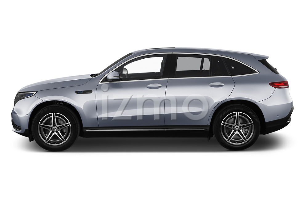 Car driver side profile view of a 2019 Mercedes Benz EQC AMG-Line 5 Door SUV