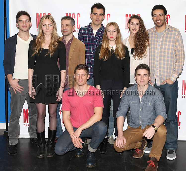 Evan Jonigkeit, Aleque Reid, Director David Cromer, Matt Lauria, Playwright Paul Downs Colaizzo, Zosia Mamet, Lauren Culpepper, David Hull & Kobi Libii attending the Meet & Greet for the MCC Theater's Production of 'Really Really' at Telsey & Co., Studios in New York City on 1/10/2013