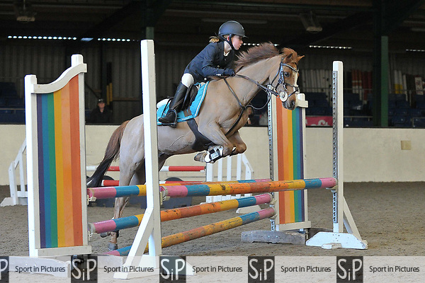 Class 1. 70cm Open. British showjumping juniors. Brook Farm Training Centre. Stapleford Abbotts. UK. 07/01/2018. ~ MANDATORY CREDIT Garry Bowden/Sport in Pictures - NO UNAUTHORISED USE - +44 7837 394578