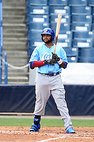 Daytona Cubs outfielder Rock Shoulders (99) during a game against the Tampa Yankees  on April 13, 2014 at George M. Steinbrenner Field in Tampa, Florida.  Tampa defeated Daytona 7-3.  (Mike Janes/Four Seam Images)