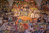 Detail of mural by Diego Rivers depicting the history of Mexico, National Palace or Palacio Nacional, Mexico City