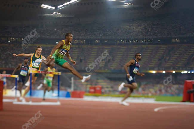 Men's 400m Hurdles, final, Angelo Taylor, right (USA) -gold, National Stadium, Summer Olympics, Beijing, China, August 18, 2008