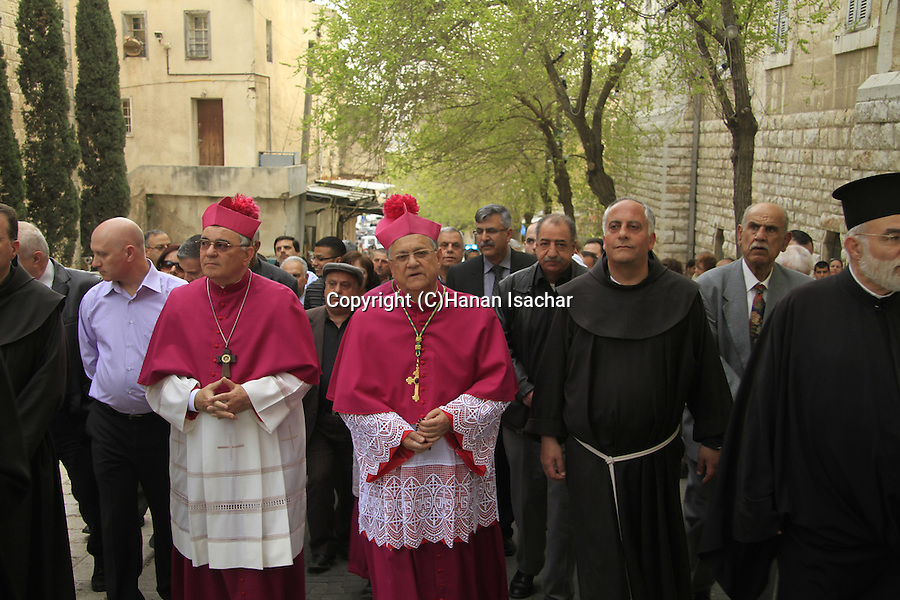 Israel, Lower Galilee, the Latin Patriarch of Jerusalem Fouad Twal leads the Annunciation Day procession in Nazareth