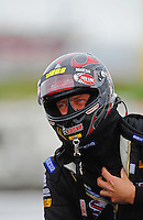 Sept. 17, 2011; Concord, NC, USA: NHRA top fuel dragster driver David Grubnic during qualifying for the O'Reilly Auto Parts Nationals at zMax Dragway. Mandatory Credit: Mark J. Rebilas-US PRESSWIRE