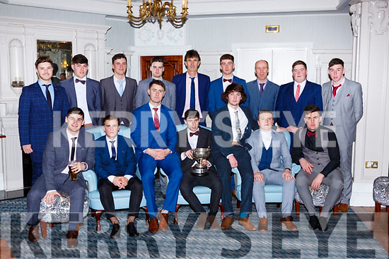 Beaufort u21 team that won the Mid Kerry Championship at the Beaufort GAA social in the Killarney Avenue on Saturday night front row l-r: Joe Glinwood, Darragh Coffey, Liam Carey, Niall O'Connor, Ryan Sweeney, Danny Healy and Arron Foley. Back row: Brendan Cronin, Mike Breen, Sean kelliher, Cormac O'Connor, Moss Foley, Kieran kennedy, Jimmy Kennedy, Cian O@Sullivan and Jonathan Kissane