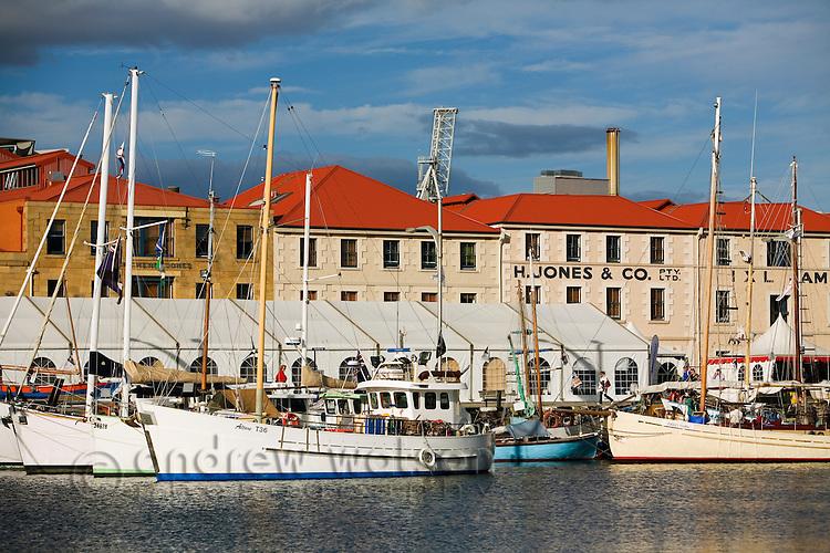 Fishing boats in Victoria Dock, alongside historic Hunter Street.  Sullivan's Cove, Hobart, Tasmania, AUSTRALIA