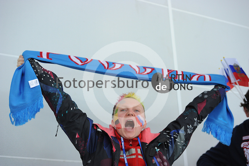 OLYMPICS: SOCHI: Adler Arena, 16-02-2014, Ladies' 1500m, Russian fan, ©photo Martin de Jong