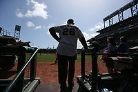 "SAN FRANCISCO, CA - APRIL 8:  John ""The Count"" Montefusco of the San Francisco Giants stands on the dugout steps waiting for a pre-game ceremony before the game against the Los Angeles Dodgers at AT&T Park on Sunday, April 8, 2018 in San Francisco, California. (Photo by Brad Mangin)"