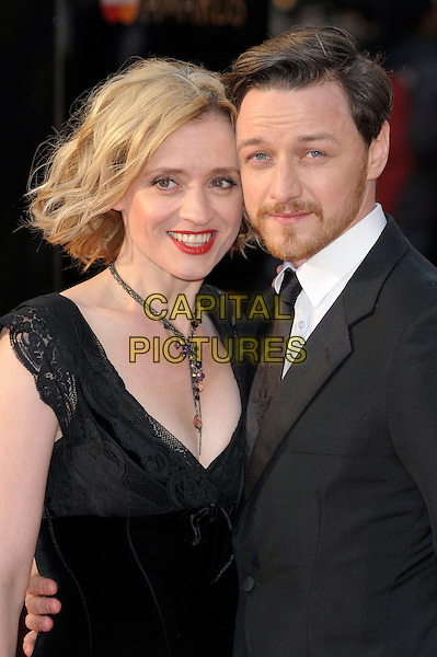 Anne Marie Duff & James McAvoy.The Olivier Awards 2012, Royal Opera House, Covent Garden, London, England..April 15th, 2012.half length married husband wife black white suit dress necklace facial hair beard.CAP/PL.©Phil Loftus/Capital Pictures.