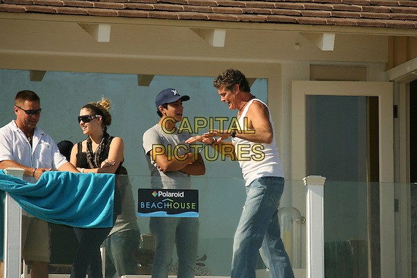 DAVID HASSELHOFF.Baywatch star David Hasselhoff enjoys the afternoon at the Polaroid House, Malibu, California, USA,.05 August 2007..half length white vest top sunglasses beach .CAP/ADM/RE.©Russ Elliot/AdMedia/Capital Pictures.