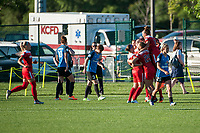 Kansas City, MO - Saturday May 27, 2017: Meggie Dougherty Howard, Mallory Pugh, Line Sigvardsen-Jensen during a regular season National Women's Soccer League (NWSL) match between FC Kansas City and the Washington Spirit at Children's Mercy Victory Field.