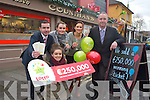 Counihan's Shop in Princes Street Tralee have a mystery winner after selling a €250,000 winning lotto ticket for Saturday nights lotto draw. Pictured were: Grainne Griffin, Martina Belak, Catriona O'Connell, Martin Manley (National Lottery) and Kieran Griffin.
