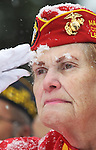Snow collects on the face of Lois Hefley as she salutes the flag during the playing of 'Taps' at a Veterans Day Ceremony at Beth El Cemetery Thursday morning. Despite the snowstorm over 80 locals gathered to pay their respects during the wreath laying ceremony. Michael Smith/staff