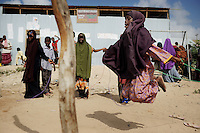 Mogadishu/Somalia 2012 - Child-friendly space established by UNICEF for displaced children. In the CFS, children and youth meet other children to play, get involved in educational activities and relax in a safe place.