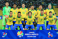 ARMENIA, COLOMBIA - JANUARY 19:  Players of Brazil pose prior the CONMEBOL Pre-Olympic soccer game against Peru at the Centanario Stadium on January 19, 2020 in Armenia, Colombia. (Photo by Daniel Munoz/VIEW press/Getty Images)