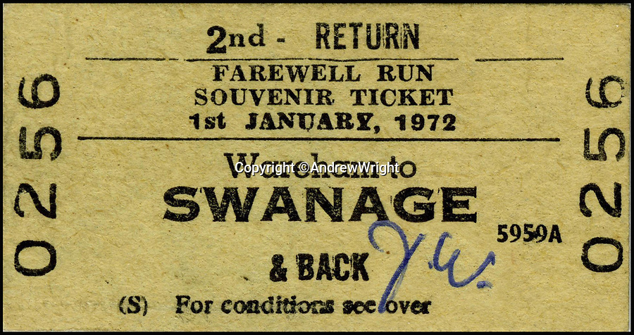 BNPS.co.uk (01202 558833)<br /> Pic: AndrewWright/BNPS<br /> <br /> The last Swanage branch train ticket from 1972.<br /> <br /> A public train service is to run on a railway line ripped up in the 'Beeching Axe' thanks to an army of volunteers who have spent 45 years painstakingly rebuilding it. <br /> <br /> From next month timetabled passenger trains will operate on a daily basis from the mainline down to Swanage in Dorset.<br /> <br /> The Victorian town was effectively cut off from the rail network in 1972 after Dr Richard Beeching, a government railway advisor, recommended it be one of hundreds of loss-making rural lines axed.<br /> <br /> Since then hundreds of people have restored the track which has been upgraded to meet today's safety standards.