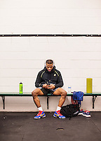 Jordan Burroughs of the United States (cq), warms up and prepares for his semi final duel at the Pan American Championships at Dr. Pepper Arena in Frisco, Texas, Saturday, February 27, 2015. Burroughs eventually win gold at the event.<br /> <br /> Photo by Matt Nager