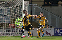 Josh Coulson of Cambridge United celebrates the teams goal during the Sky Bet League 2 match between Cambridge United and Wycombe Wanderers at the R Costings Abbey Stadium, Cambridge, England on 1 March 2016. Photo by Andy Rowland / PRiME Media Images.