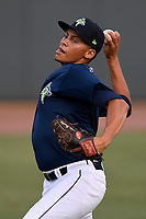Starting pitcher Justin Brantley (4) of the Columbia Fireflies warms up before a game against the Charleston RiverDogs on Monday, August 7, 2017, at Spirit Communications Park in Columbia, South Carolina. Columbia won, 6-4. (Tom Priddy/Four Seam Images)