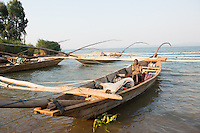 Africa, DRC, Democratic Republic of the Congo. Fishing boats on Lake Kivu.