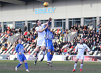 Ryan Bird of Newport County contends for the aerial ball during the Sky Bet League Two match between Newport County and Hartlepool United at Rodney Parade, Newport, Wales, UK. Saturday 28 January 2017