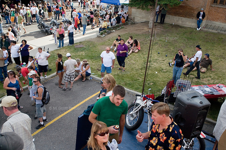 People fill the streets at the Evel Knievel Festival in Butte, Montana, USA.