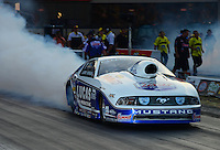 Jun. 30, 2012; Joliet, IL, USA: NHRA pro stock driver Larry Morgan during qualifying for the Route 66 Nationals at Route 66 Raceway. Mandatory Credit: Mark J. Rebilas-