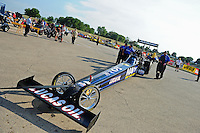 Jun. 29, 2012; Joliet, IL, USA: NHRA top fuel dragster driver Brandon Bernstein during qualifying for the Route 66 Nationals at Route 66 Raceway. Mandatory Credit: Mark J. Rebilas-