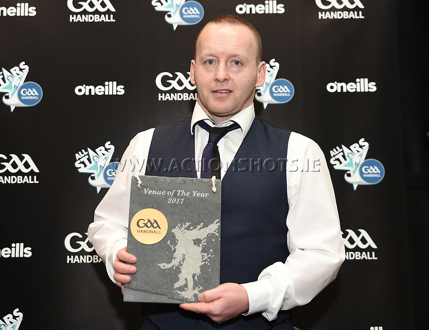 03/02/2018; GAA Handball All-Stars Awards 2018; Croke Park, Dublin;<br /> Michael Finnegan with the Venue of the Year award accepted on behalf of Kingscourt, Co Cavan.<br /> Photo Credit: actionshots.ie/Tommy Grealy