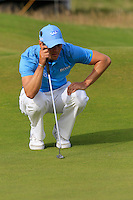 Martin Kaymer (GER) lines up his putt on the 14th green during Thursday's Round 1 of the 145th Open Championship held at Royal Troon Golf Club, Troon, Ayreshire, Scotland. 14th July 2016.<br /> Picture: Eoin Clarke | Golffile<br /> <br /> <br /> All photos usage must carry mandatory copyright credit (&copy; Golffile | Eoin Clarke)