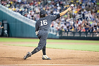 Vanderbilt Commodores third baseman Austin Martin (16) makes a throw to first base against the Michigan Wolverines during Game 2 of the NCAA College World Series Finals on June 25, 2019 at TD Ameritrade Park in Omaha, Nebraska. Vanderbilt defeated Michigan 4-1. (Andrew Woolley/Four Seam Images)