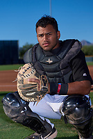 AZL D-backs catcher Oscar Santos (8) poses for a photo before an Arizona League game against the AZL Angels on July 20, 2019 at Salt River Fields at Talking Stick in Scottsdale, Arizona. The AZL Angels defeated the AZL D-backs 11-4. (Zachary Lucy/Four Seam Images)