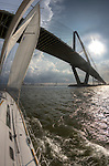 sailboat clouds sailing storm bridge arthur ravenel jr bridge