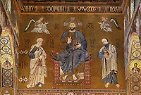 Christ in Majesty between Saint Peter and Saint Paul, Norman-Byzantine mosaics of the Western wall of the Cappella Palatina (Palatine Chapel), 1130 - 1140, by Roger II, within the Palazzo dei Normanni (Palace of the Normans), Palermo, Sicily, Italy. Picture by Manuel Cohen