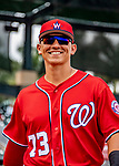 1 March 2019: Washington Nationals catcher Tres Barrera smiles in the dugout prior to a Spring Training game against the Miami Marlins at Roger Dean Stadium in Jupiter, Florida. The Nationals defeated the Marlins 5-4 in Grapefruit League play. Mandatory Credit: Ed Wolfstein Photo *** RAW (NEF) Image File Available ***